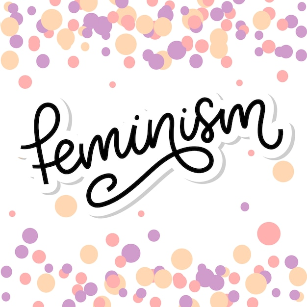 Typographic . feminism letter. graphic element. typography lettering design. woman motivational slogan. feminism slogan. girl power quote. fashion illustration. feminism letter in doodle style. Premium Vector