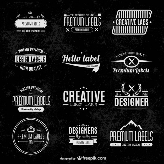 Typographic labels set Free Vector