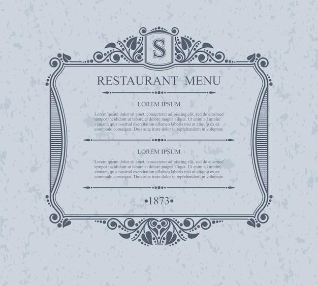 活版印刷メニューレストランのデザイン要素、書道の優雅なテンプレート。 Premiumベクター