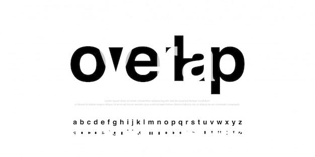 Typographic modern alphabet font overlap style Premium Vector