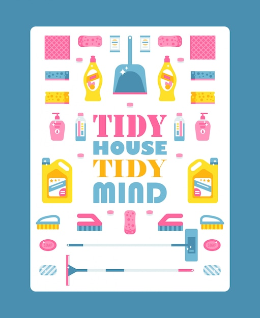 Typographic poster with isolated icons of cleaning products,  illustration. motivational text tidy house tidy mind. cleaning service brochure cover template Premium Vector