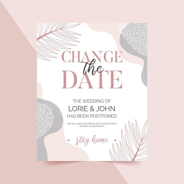 Типографский шаблон отложенной свадебной открытки с листьями Бесплатные векторы