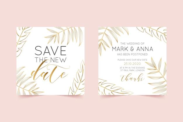 Типографский шаблон отложенной свадебной открытки Бесплатные векторы