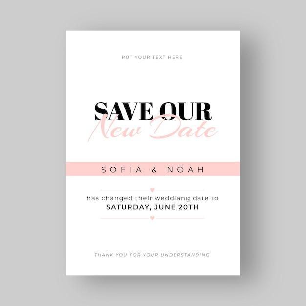 Typographic Postponed Wedding Card Free Vector