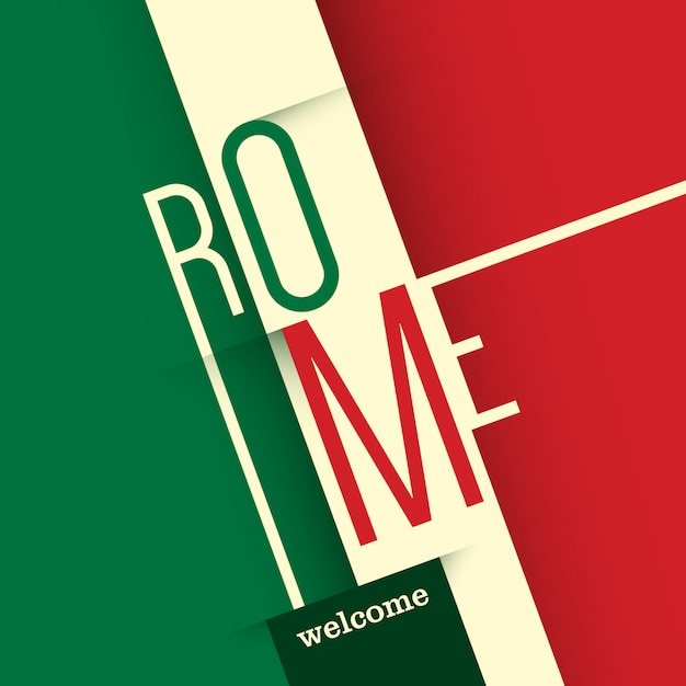 Typographic rome background Premium Vector
