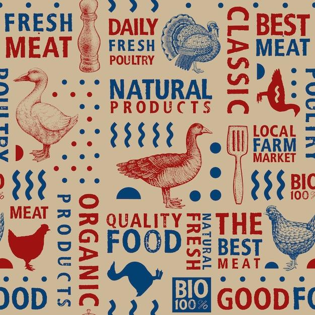 Typographic vector butchery seamless pattern. graphical goose, hen, turkey, duck silhouette Premium Vector