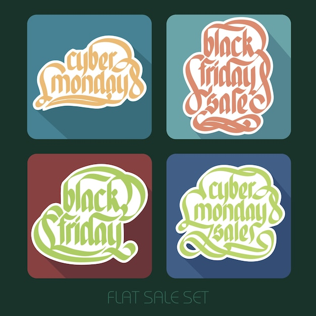 Typographical sale inscriptions set with handwritten calligraphic colorful paper stickers in flat style Free Vector