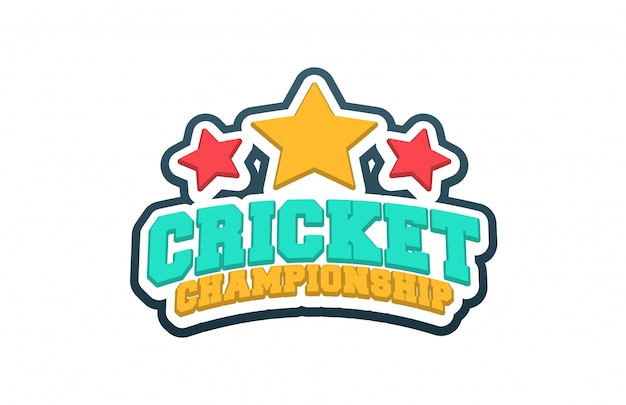 Typography cricket sport style emblem logo  with ball. Premium Vector