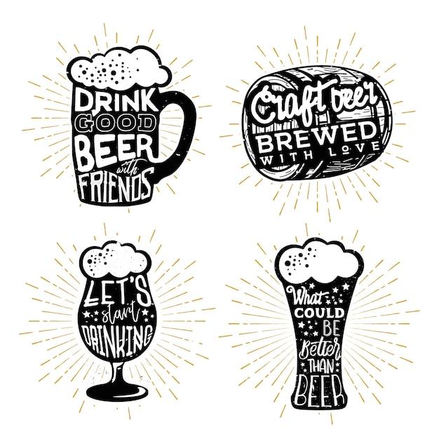 ビールのタイポグラフィデザイン。さまざまなビールをテーマにしたオブジェクトのテキスト Premiumベクター