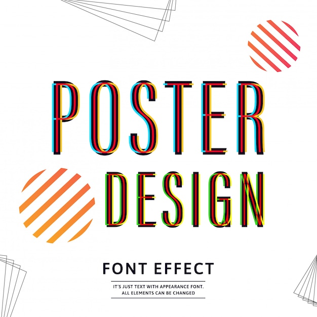 Typography font uppercase for banner design. text effect. Premium Vector