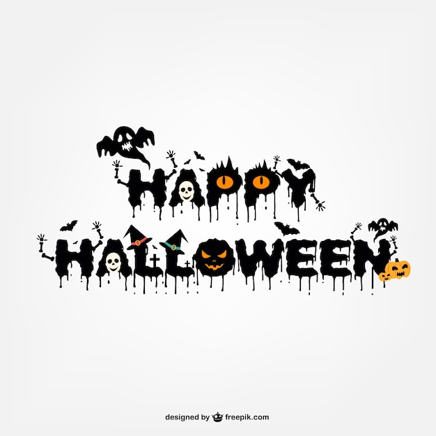 typography halloween logo design free vector - Halloween Design
