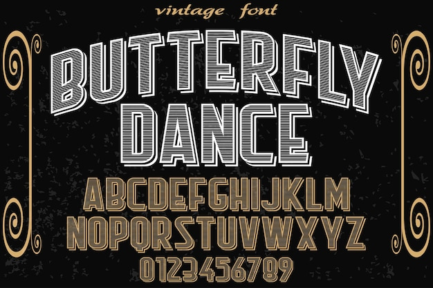 Typography label design butterfly Premium Vector