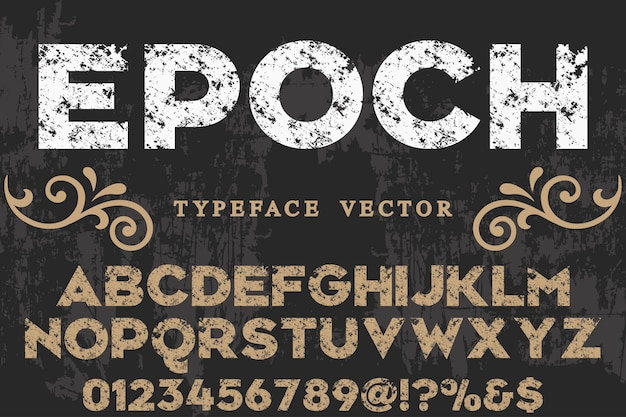 Typography label design epoch Premium Vector