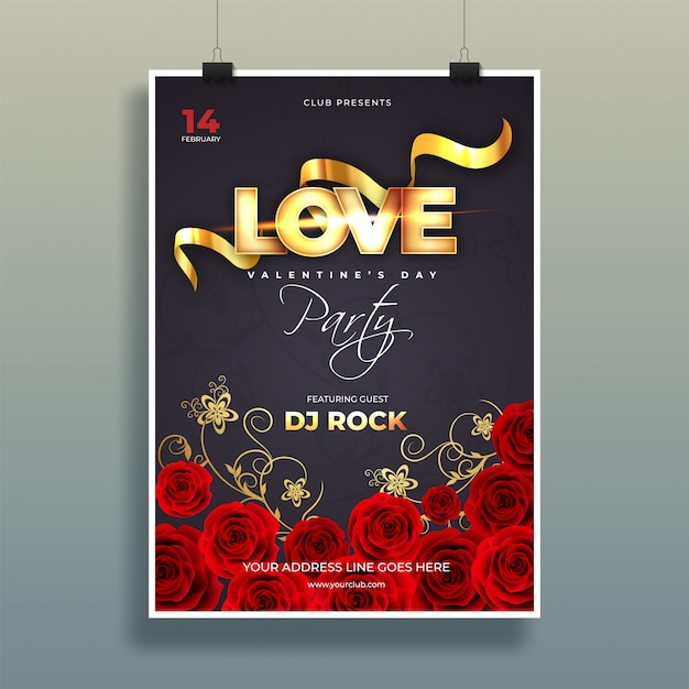 Typography of love with decorative rose flowers on black backgro Premium Vector