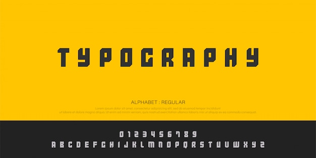 Typography and number font uppercase regular Premium Vector