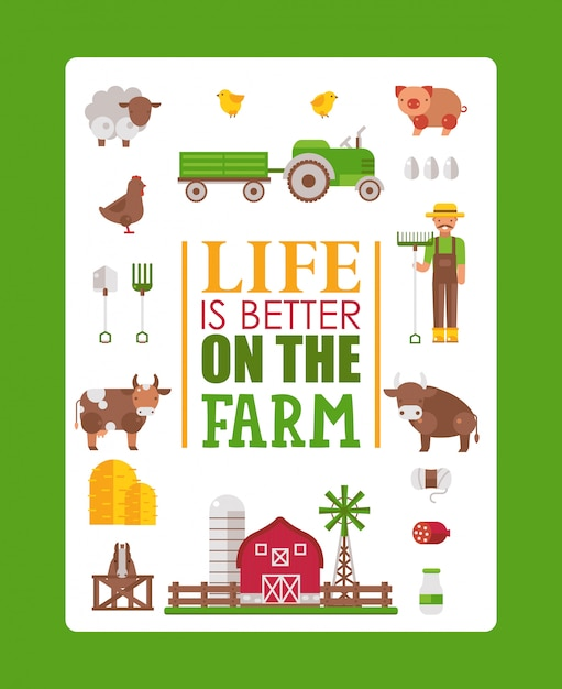 Premium Vector Typography Poster Life Is Better On The Farm Illustration Isolated Farmstead Icons In Flat Style Cow Pig Sheep And Chicken Farmer Brochure Template
