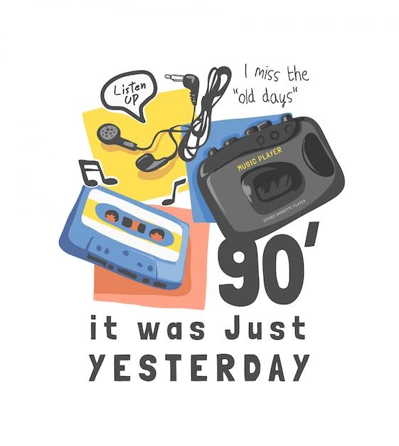Типографский слоган с кассетой и винтажным музыкальным плеером Premium векторы