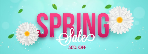 Typography of spring with daisy flowers Premium Vector