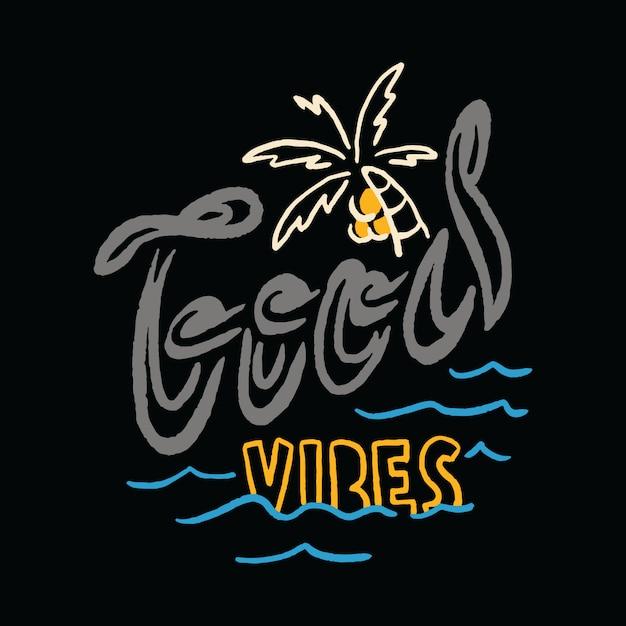 Типография летний отдых на пляже sea illustration art футболка Premium векторы