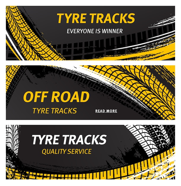 Tyre tracks, off road tire prints vector car grunge tread abstract marks Premium Vector