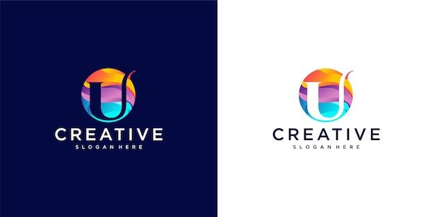 U logo powerful colour Premium Vector