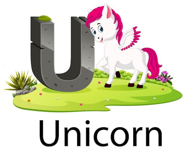 良いアニメーションとユニコーンの動物園動物アルファベットu Premiumベクター