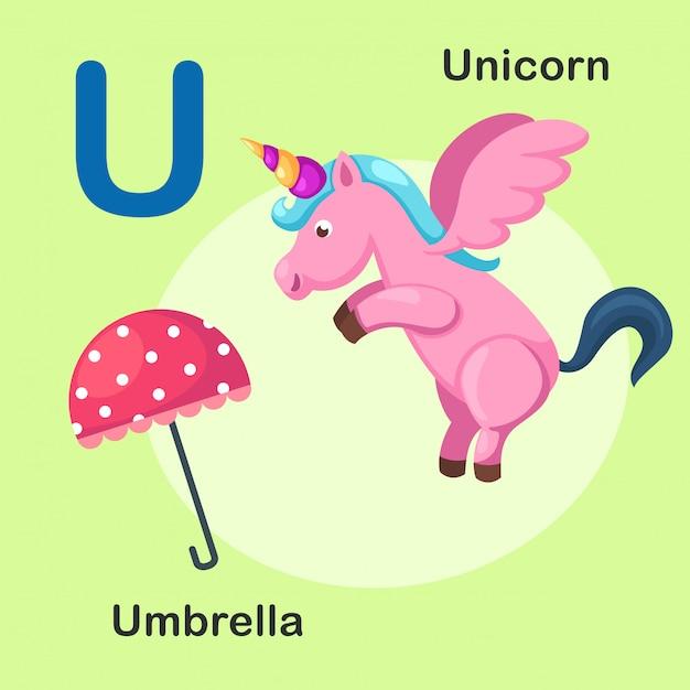 イラスト分離された動物のアルファベット文字uユニコーン、傘 Premiumベクター