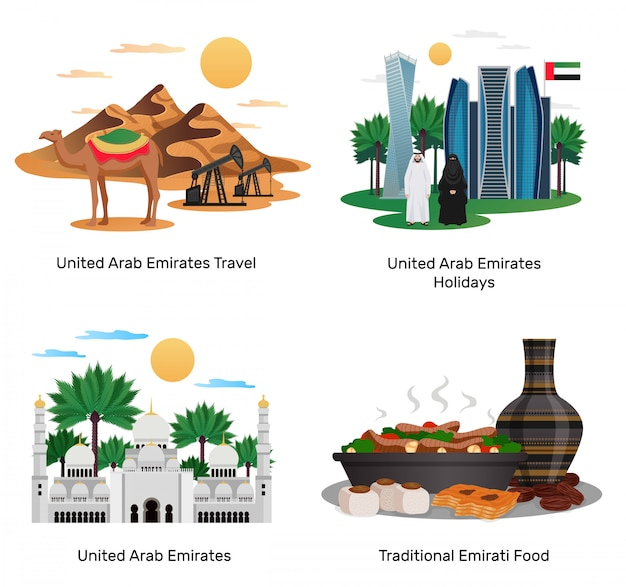 Uae travel 4 flat compositions with traditional food holidays sightseeing guide natural monuments architecture isolated  illustrations Free Vector