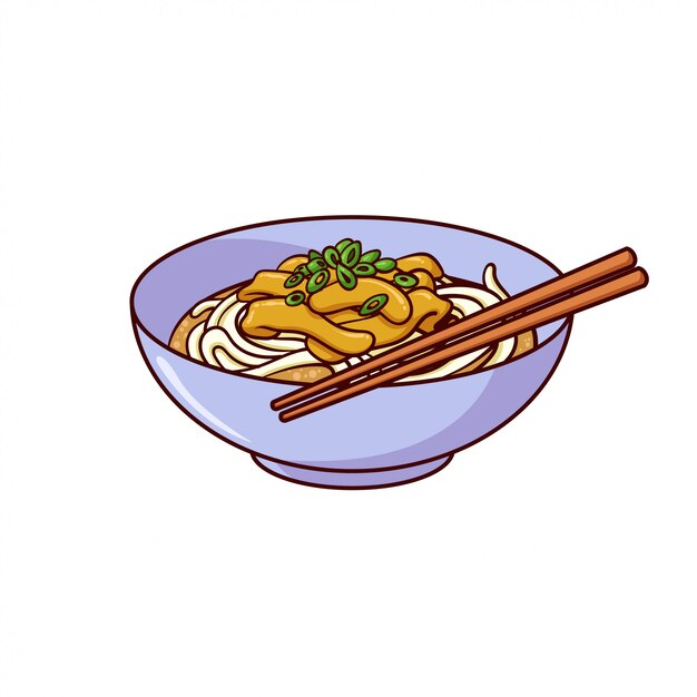 Udon is a typical food from japan Premium Vector