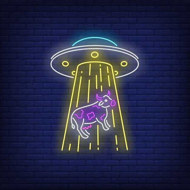 Ufo abducting cow neon sign Free Vector