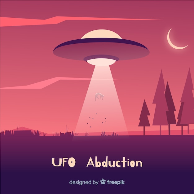 Ufo abduction concept with flat design Free Vector