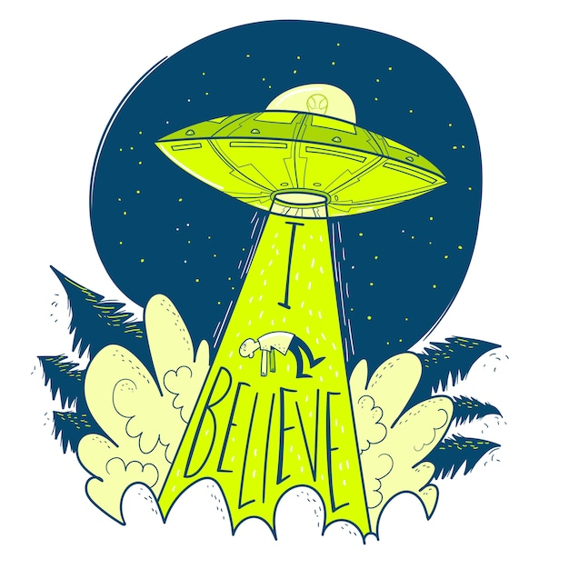 Ufo abducts human. space ship ufo ray of light in the night sky. Premium Vector