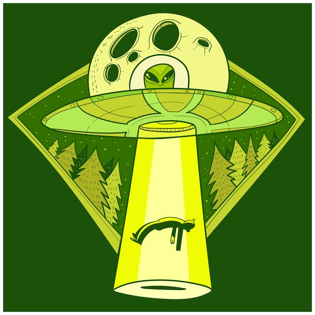Ufo abducts human. space ship ufo ray of light in the night sky Premium Vector