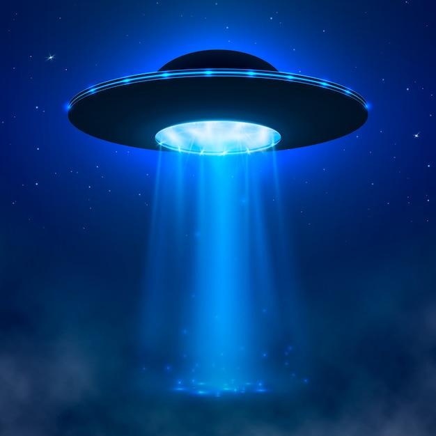 Ufo。光ビームと霧のエイリアンの宇宙船。 ufoのベクトル図 Premiumベクター