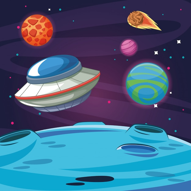 Ufo alien spaceship in the galaxy Premium Vector