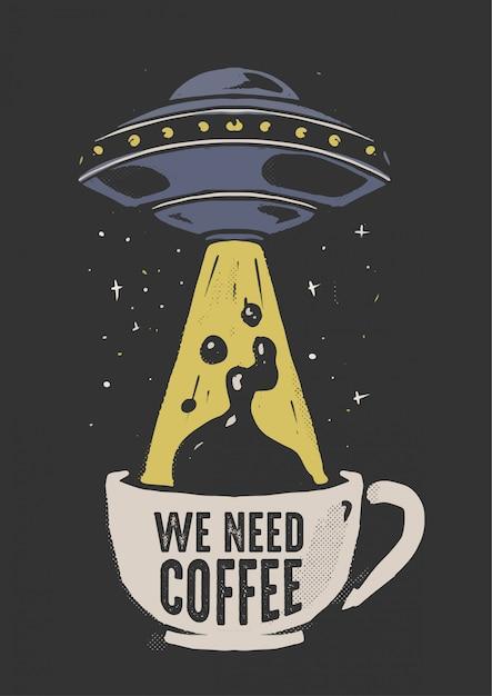 Нло и кофе Premium векторы