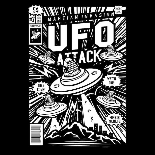 Ufo attack comic cover art Premium Vector
