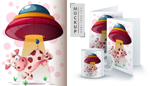 Ufo and cow greeting card Premium Vector