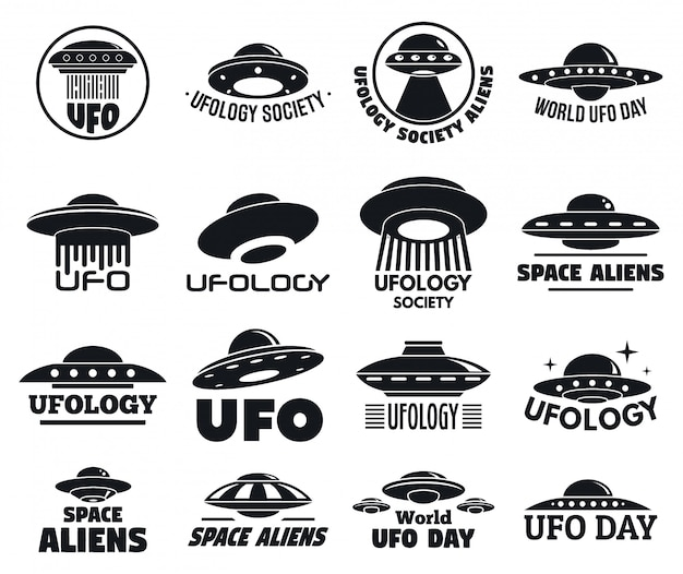 Ufo flying logo set Premium Vector