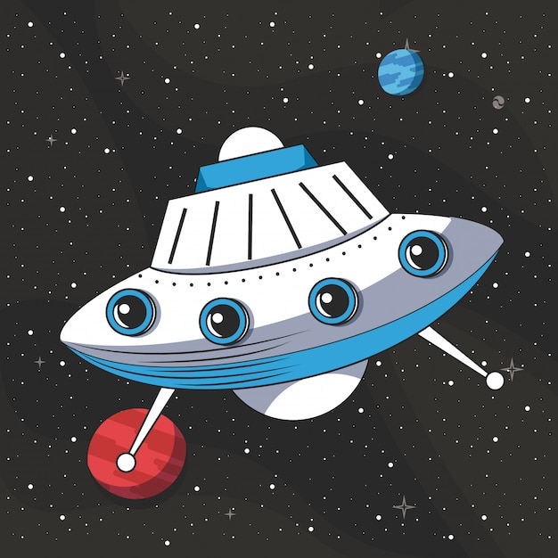 Ufo flying in the space Free Vector