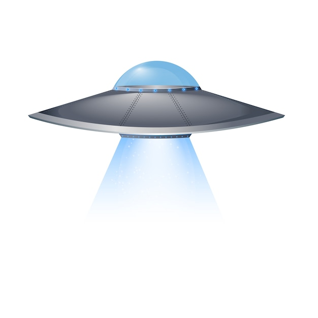 Ufo flying spaceship isolated on white background Premium Vector