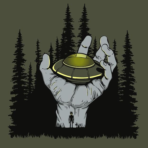 Ufoは手の図に上陸しました Premiumベクター