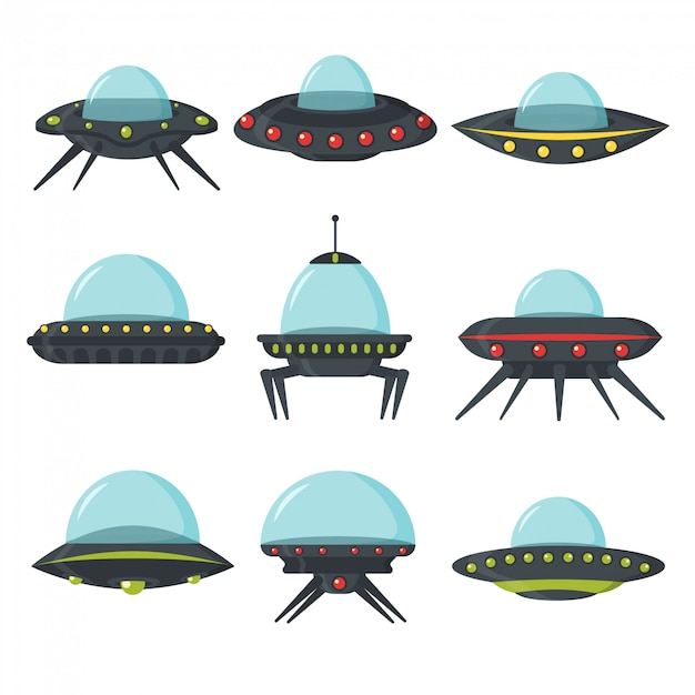 Ufo set, alien spaceships, flat style. color set of alien circle plates for the game ui. spaceship in the form of a plate for transportation. nlo  set in cartoon style.  illustration. Premium Vector