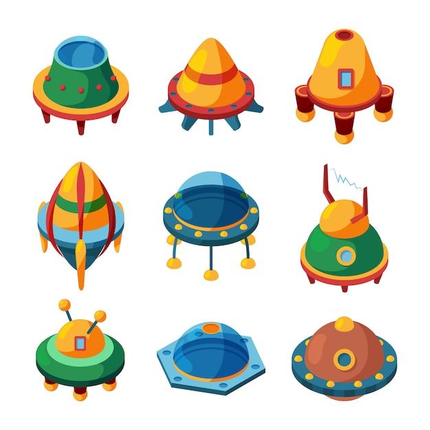 Ufo and spaceships. isometric vector ufo set isolated Premium Vector