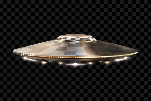 Ufo. unidentified flying object. futuristic ufo on a transparent background,  illustration. Premium Vector