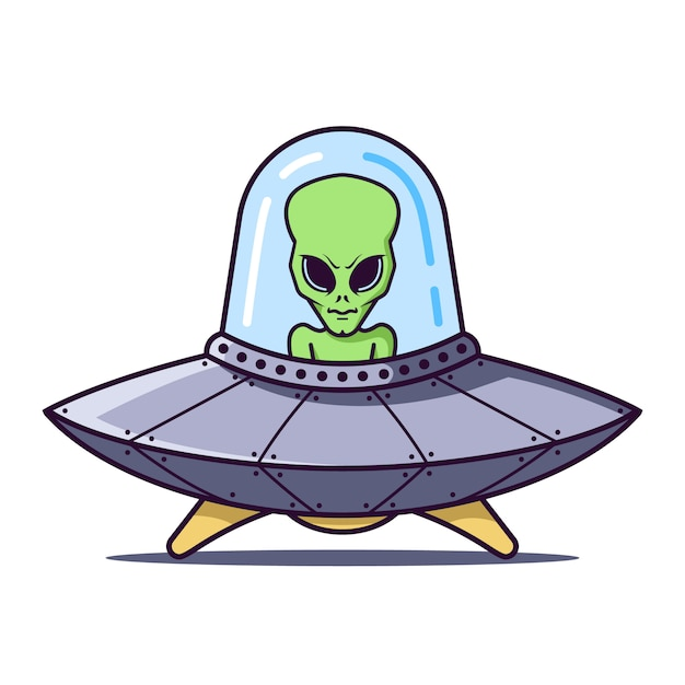 Ufo with a green alien on a white . flat character  illustration. Premium Vector