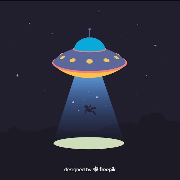 Современная концепция абдукции ufo с плоской конструкцией Бесплатные векторы