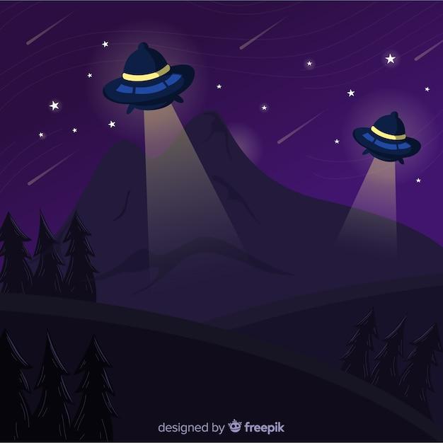 Концепция похищения ufo с плоской конструкцией Бесплатные векторы