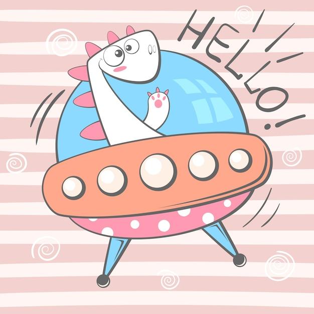 かわいいディーノキャラクター。 ufoイラスト Premiumベクター