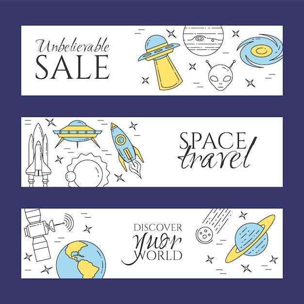 宇宙旅行ラインバナー。惑星、宇宙船、ufo、衛星、スパイグラス、その他のコスモスピクトグラムの要素のセットです。ウェブサイト、カード、インフォグラフィックのための概念を宣伝します。ベクトルイラスト Premiumベクター